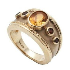Jewelry - 14K GOLD RING W/ AMBER & RUBY STONES RING